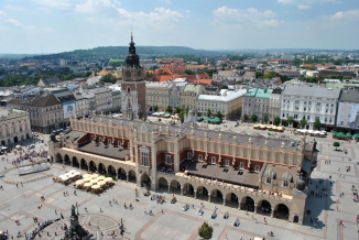 Krakow Poland center square eastern Europe aerial view